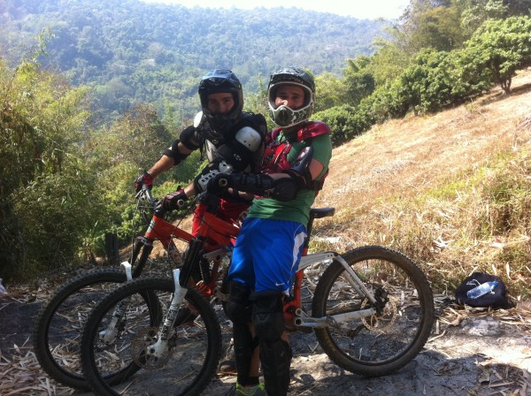 Stef and Seb mountain biking