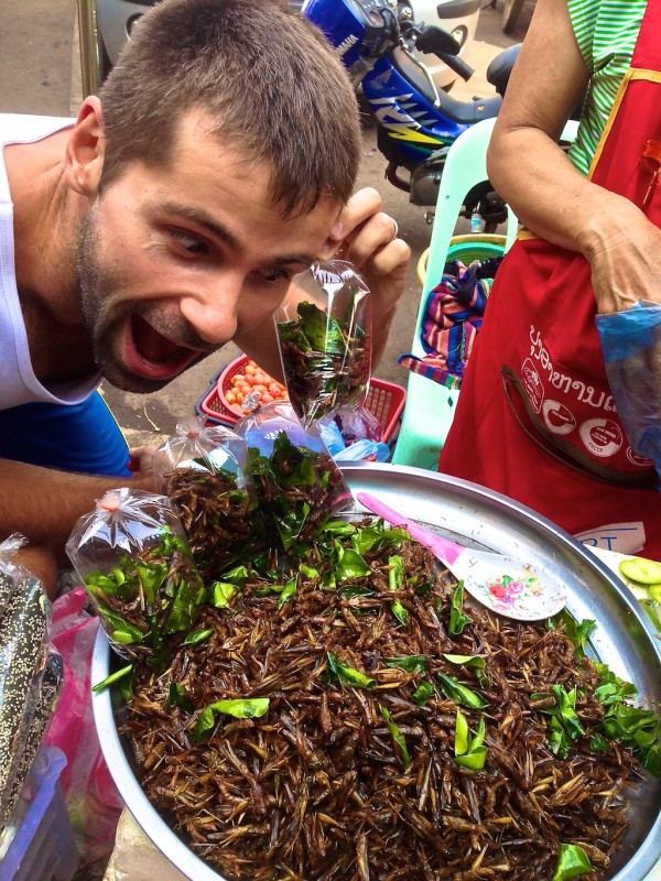 Sebastien with fried grasshoppers