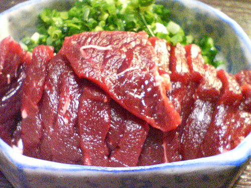Whale meat sashimi