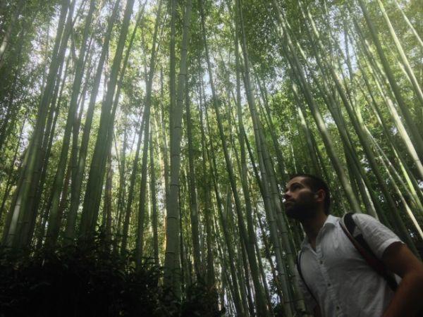 Seby posing in beautiful Sagano bamboo forest