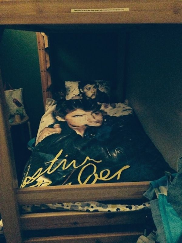 My Justin Bieber bedsheet in my dorm at Cinnamon Sally Hostel