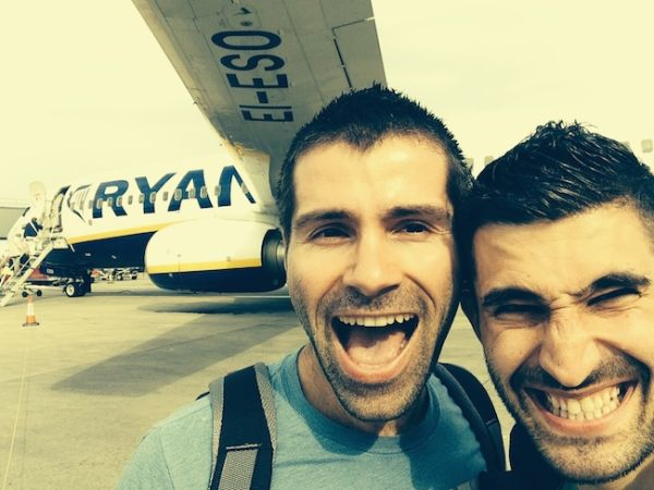 Ryanair selfie and our first steps on Latvian soil