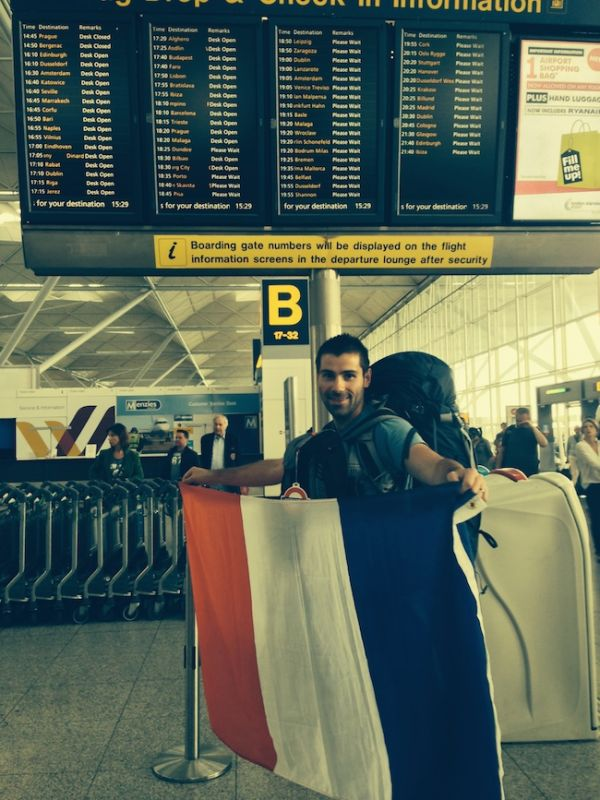 Sebastien French flat selfie at Stansted airport