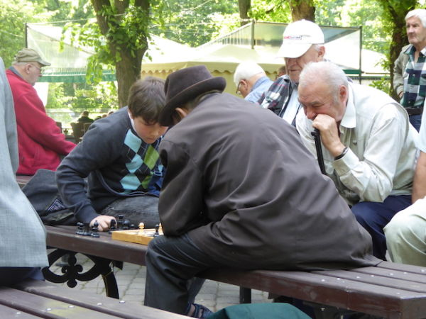 Playing chess in Riga's parks