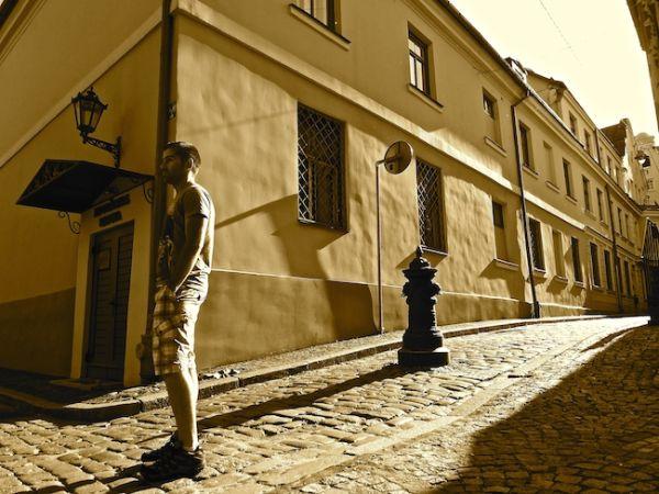 Seb posing in Riga's Old Town