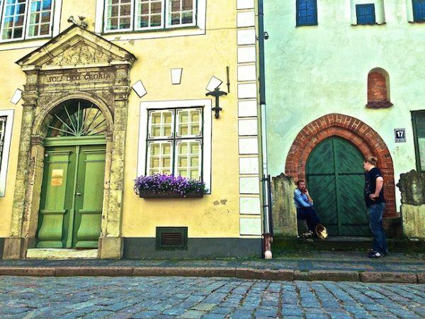Tuba busker taking a break in Riga's Old Town