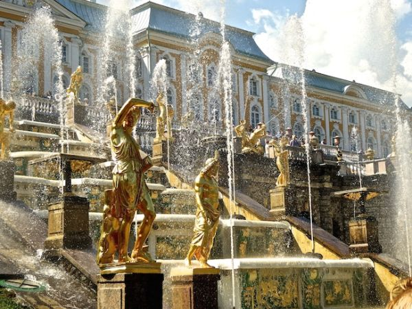 Close up of the fountains of the Grand Cascade at Peterhof