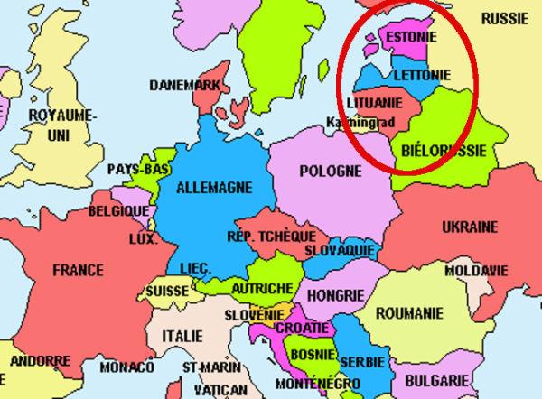 Carte européenne avec pays baltes