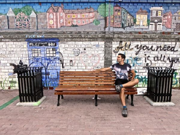 Posing by Yekaterinburg's Peace Wall