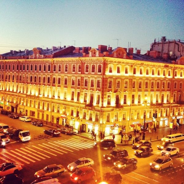 The view across St Petersburg's Nevsky Prospect at midnight!