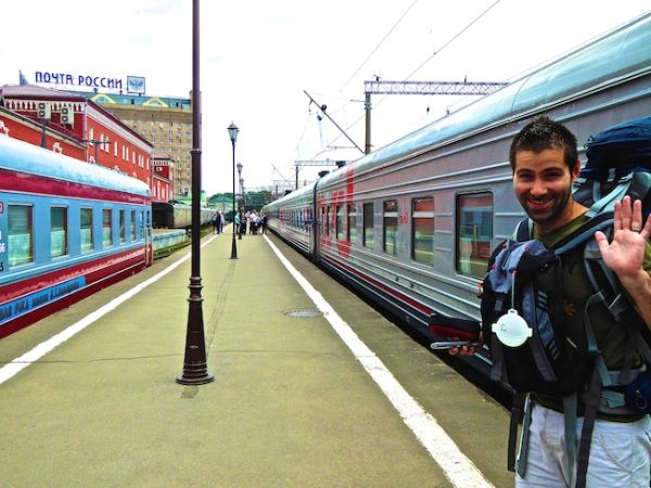 Seb waiting patiently at Moscow's platform to board the train