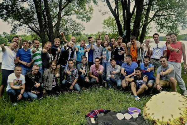 Russian BBQ picnic group photo