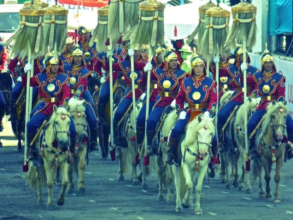 Opening ceremony horses arriving at the Naadam festival