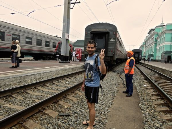 Seb posing at Omsk platform
