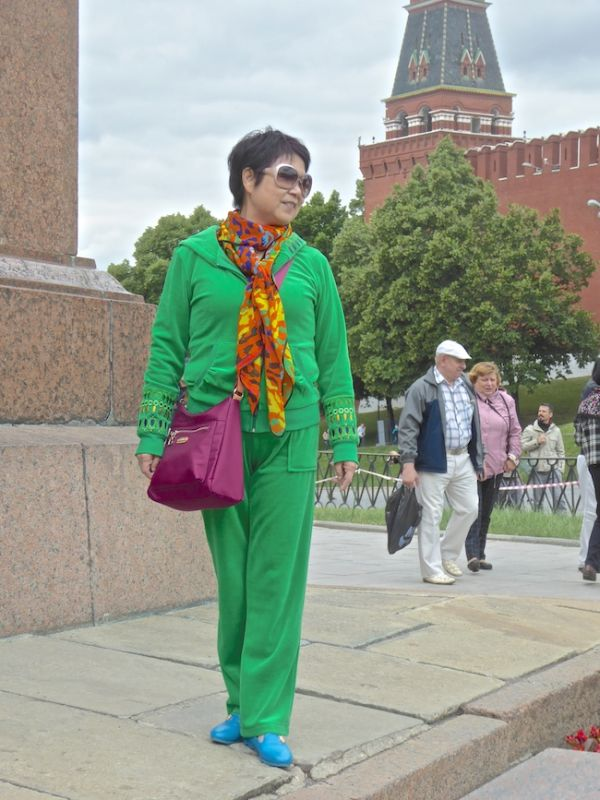 Japanese tourist posing in Moscow's Red Square