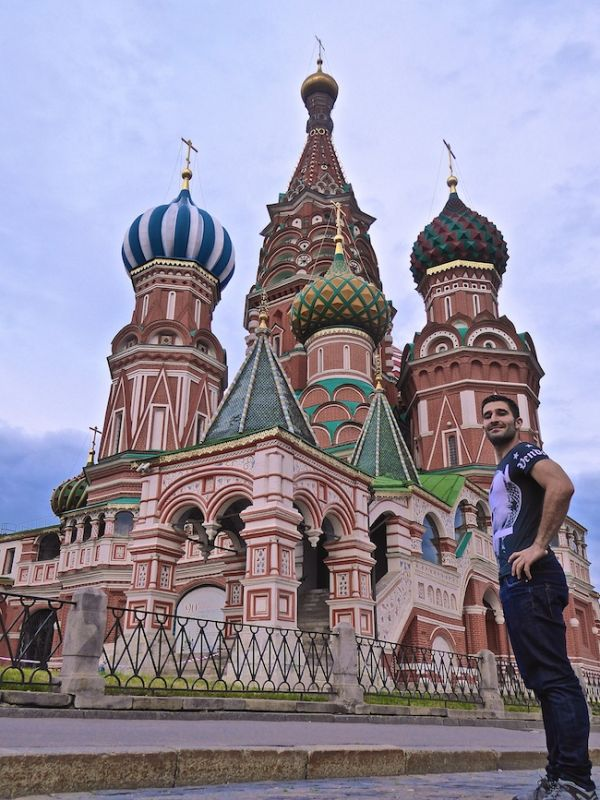 Stefan posing outside Moscow's St Basil's Cathedral