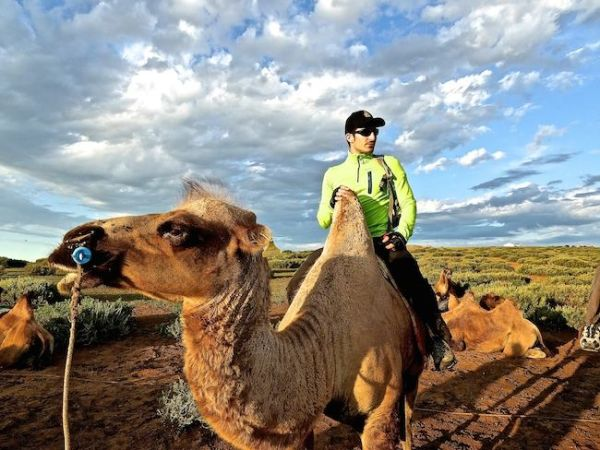 Stefan posing on his camel during our ride at Khogno Khan Uul