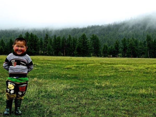 This boy will one day be a star at the Naadam festival wrestling matches