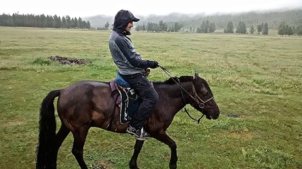 Stefan horse riding in Orkhon Valley