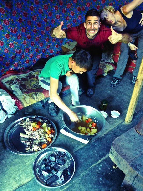 Cooking khorkhog with a nomadic family in the Mongolian countryside
