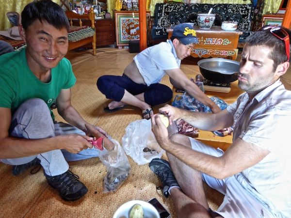 Sebastien helping prepare the ingredients for the khorkhog