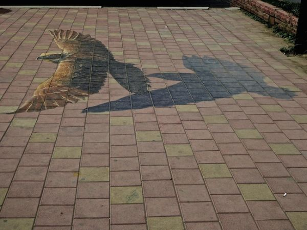 3D street art on the pavements of Ulan Bator