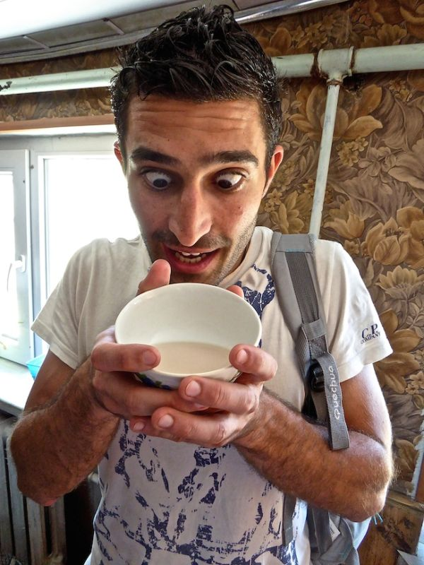 Stefan trying airag - fermented mare's milk