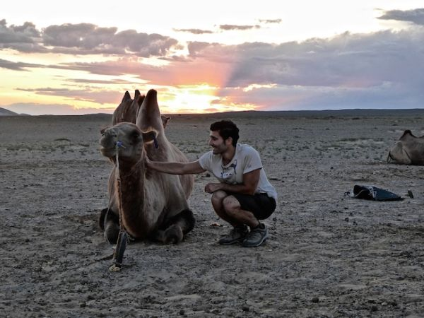Stefan bonding with Cecilia the camel at Khongoryn Els