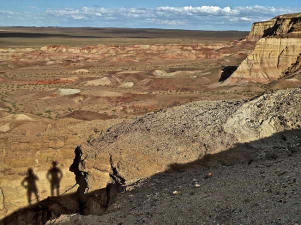 Our shadows posing at Tsagaan Suvraga
