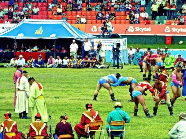 Wrestling match at the Naadam festival