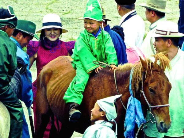 A young horse racer at the Naadam festival