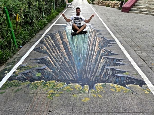 Sebastien feeling zen on a 3D pavement graffiti in Ulan Bator