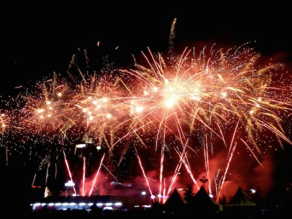 The impressive fireworks display at the Naadam festival