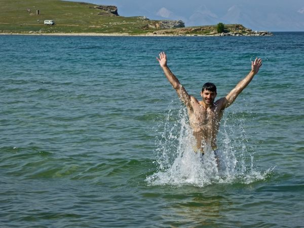 Taking a dip in the freezing cold Lake Baikal