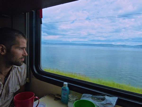 Change in scenery as train journeyed along Lake Baikal