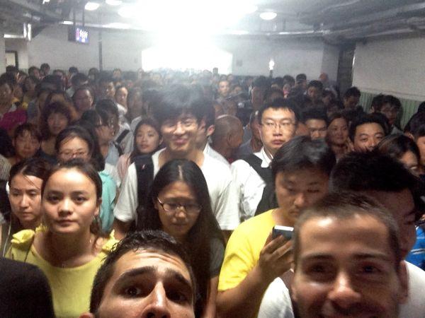 Rush hour in Beijing's subway - people people people everywhere....!