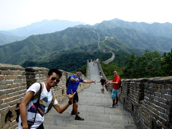 Photo de groupe sur la muraille de Chine de Mutianyu