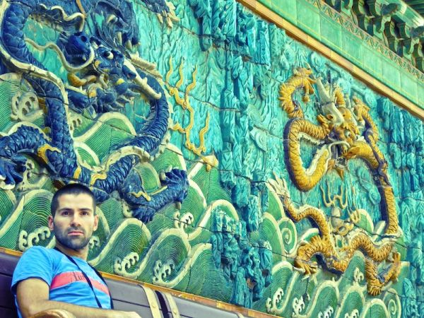 Seb by the Nine Dragon Screen in the Forbidden City