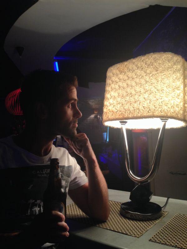 Sebastien admiring the decor at Hanzo gay bar Ulan Bator
