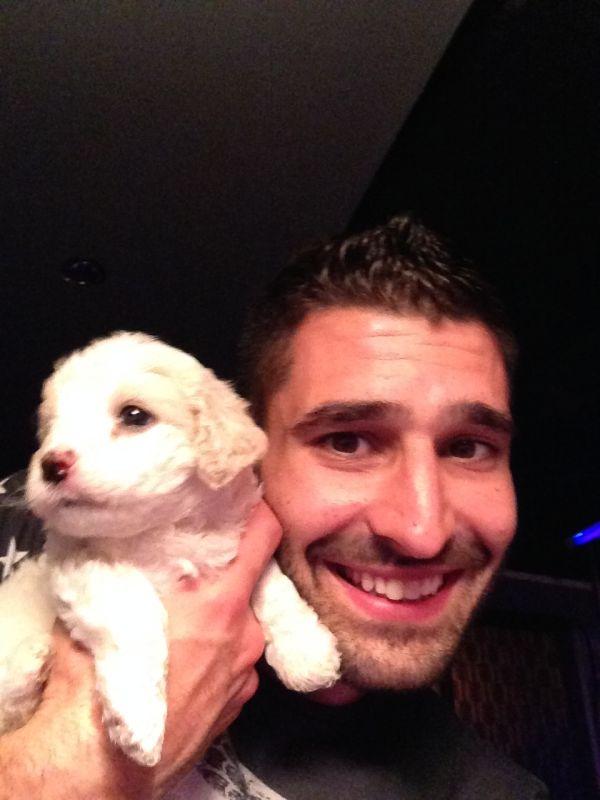 Stefan with puppy at Hanzo gay club Ulan Bator