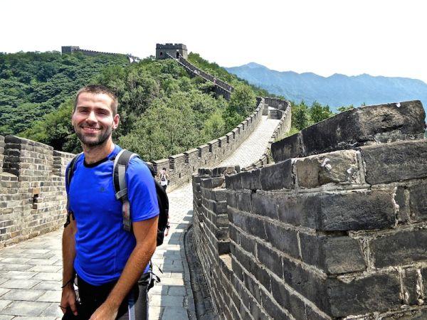 Sebastien posing Mutianyu at The Great Wall of China