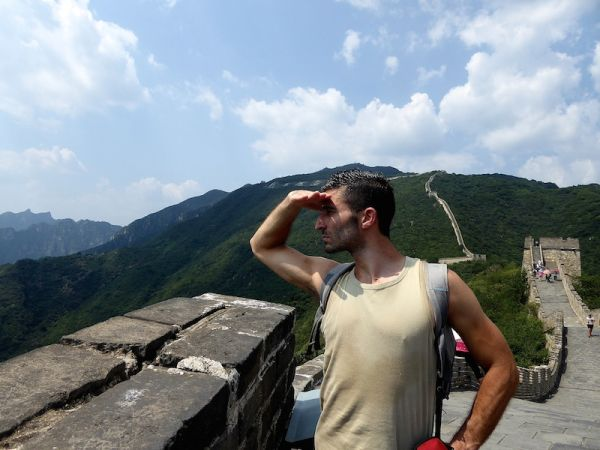 Stefan admiring the view of The Great Wall of China at MutianyuStefan admiring the view of The Great Wall of China at Mutianyu