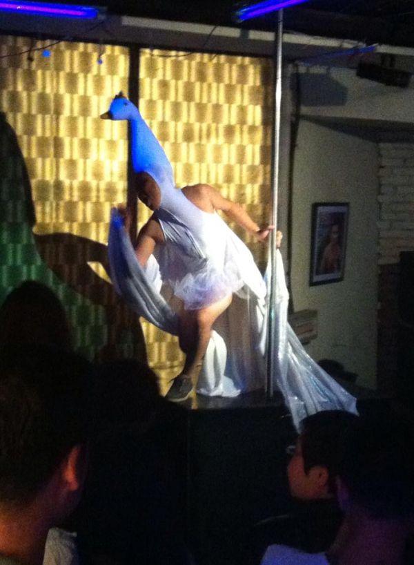 Zorig performing Swan Lake at Hanzo gay club Ulan Bator