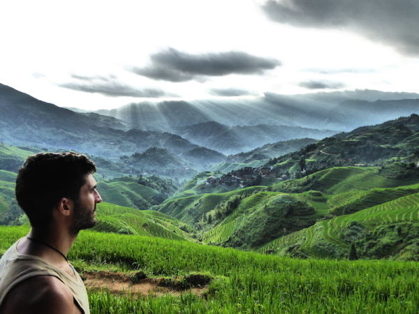 Admiring the Lonji rice terraces at Longsheng