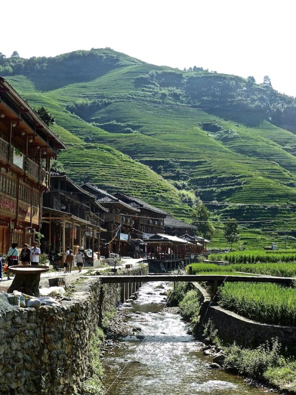 The bamboo wooden houses of the ethnic Zhuang and Yao villages of the Longji rice terraces