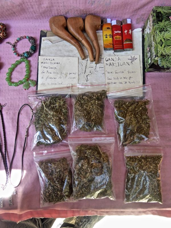 Marijuana on sale during the Tiger Leaping Gorge Trek