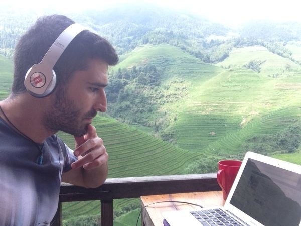 Working on the blog at Tiantouzhai village - Longji Rice Terraces