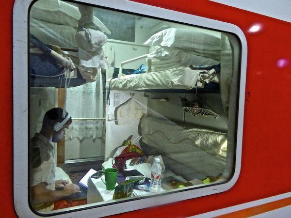 Boarding the train - bye bye Yangshuo