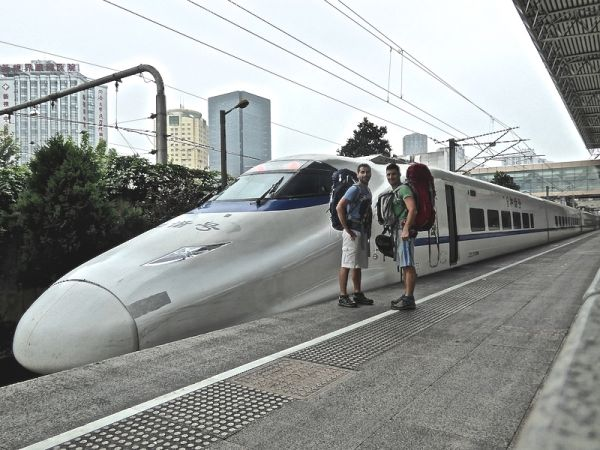 About to board the train bound for Guilin