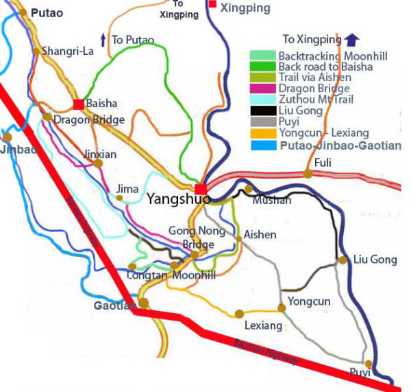 Carte d'itinéraires à vélos, Yangshuo